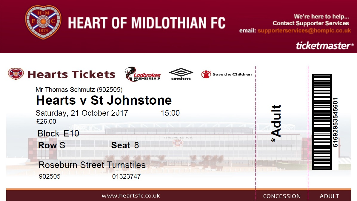 Groundhopping, Edinburgh, Murrayfield, Fussball, Hearts - St. Johnstone, Tickets
